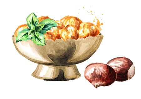Bowl with Candied edible Chestnuts. Hand drawn watercolor illustration isolated on white background Banco de Imagens