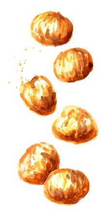 Falling Candied edible Chestnuts. Hand drawn watercolor illustration isolated on white background Banco de Imagens