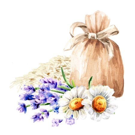 Sachet, bag with relaxing soothing herbal collection, rice, chamomile with lavender. Calming pillow. Hand drawn watercolor illustration, isolated on white background