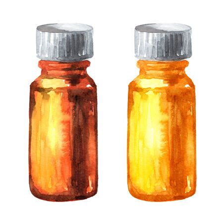 Aroma oil bottle or medical tincture, syrup, drops. Hand drawn watercolor illustration isolated on white background
