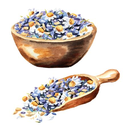 Bowl and scoop with Calming herbal collection set.  Lavender with chamomiles. Hand drawn watercolor illustration isolated on white background