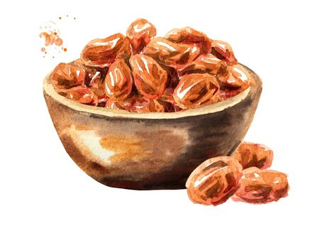 Bowl with Dried sweet red raisins. Hand drawn watercolor illustration isolated on white background
