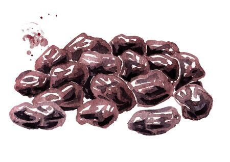 Heap of dried dark raisins. Hand drawn watercolor illustration isolated on white background