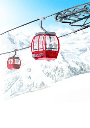 Cableway, funicular in the ski mountain resort, winter recreation and vacation concept. Hand drawn watercolor illustration background