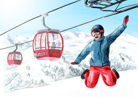 Happy jumping skier or snowboarders against Cableway, funicular in the ski mountain resort, winter recreation and vacation concept. Hand drawn watercolor illustration