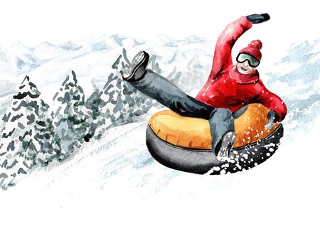 Happy smiling young man on snow tubes downhill  in the ski mountain resort, winter recreation and vacation concept, Hand drawn watercolor illustration and background Banco de Imagens