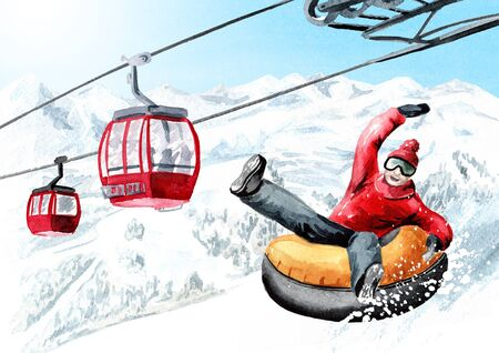 Happy smiling young man on snow tubes downhill against  funicular in the ski mountain resort, winter recreation and vacation concept. Hand drawn watercolor illustration