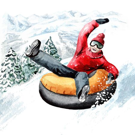 Happy smiling young man on snow tubes downhill in the ski mountain resort, winter recreation and vacation concept. Hand drawn watercolor illustration Banco de Imagens