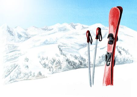 Ski accessories, poles and a pair of skis against a mountain landscape, winter recreation and vacation concept. Hand drawn watercolor illustration