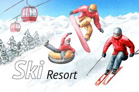 Ski mountain resort, winter recreation and vacation concept. Hand drawn watercolor illustration