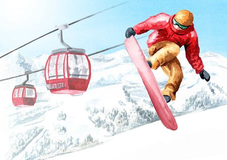 Young snowboarder jumps with a snowboard from a snowy mountain against  funicular in the ski mountain resort, winter recreation and vacation concept. Hand drawn watercolor illustration