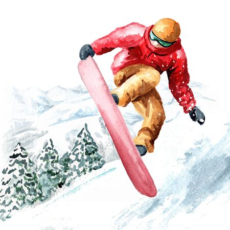 young snowboarder jumps with a snowboard from a snowy mountain in the ski resort, winter recreation and vacation concept. Hand drawn watercolor illustration