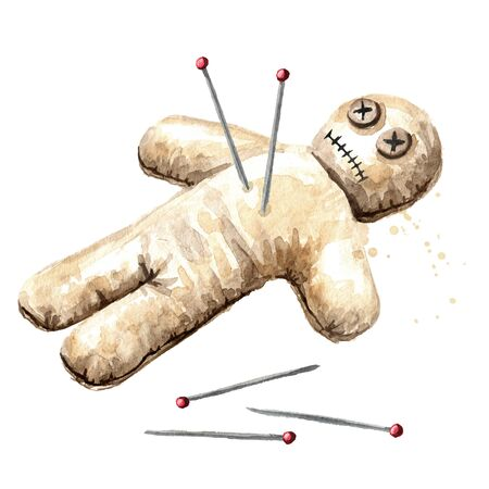 Voodoo doll. Witchcraft, Magic, occult and esoteric concept. Hand drawn watercolor illustration, isolated on white background