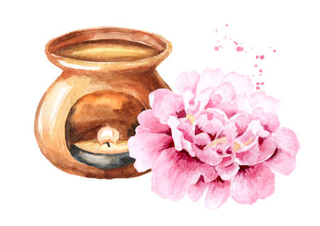 Aroma lamp and Pink peony Flower. Hand drawn watercolor illustration isolated on white background