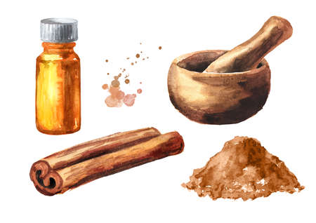 Cinnamon stick, powder and essential oil set. Hand drawn watercolor illustration, isolated on white background