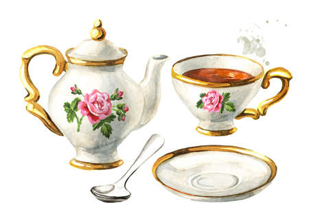 Teapot, Cup and saucer set. Vintage decorated porcelain. Hand drawn watercolor illustration isolated on white background