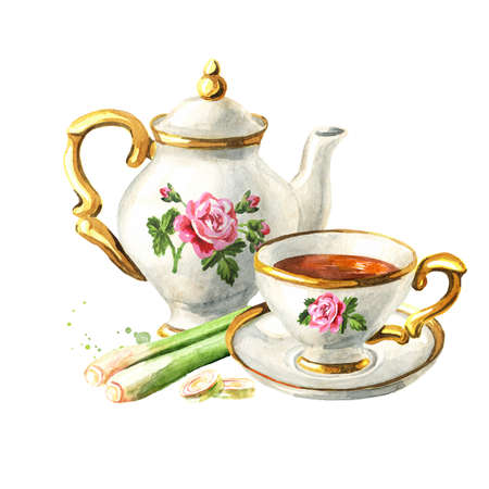 Teapot, cup of tea and Lemongrass. Hand drawn watercolor illustration isolated on white background