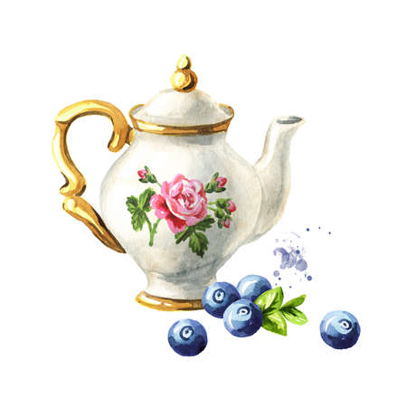 Teapot and Blueberry. Hand drawn watercolor illustration isolated on white background Standard-Bild