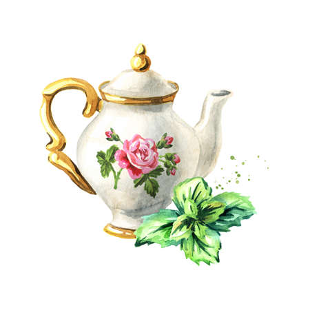 Teapot and mint. Hand drawn watercolor illustration isolated on white background Standard-Bild
