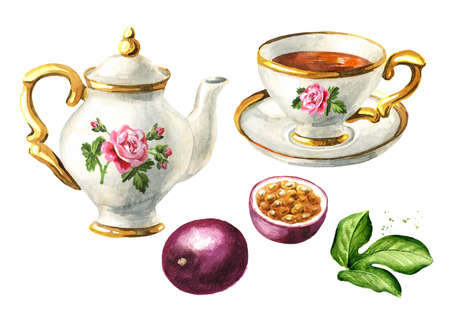 Teapot, cup of tea and passion fruit maracuya set. Hand drawn watercolor illustration isolated on white background Standard-Bild