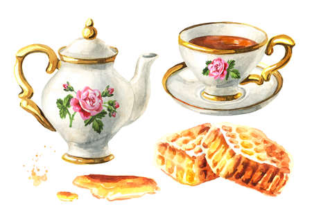 Teapot, cup of tea and honey set. Hand drawn watercolor illustration isolated on white background Standard-Bild