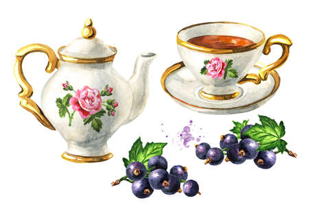 Teapot, cup of tea and Black currant set. Hand drawn watercolor illustration isolated on white background Stock Photo