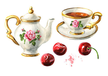 Teapot, cup of tea and Cherry set. Hand drawn watercolor illustration isolated on white background Standard-Bild