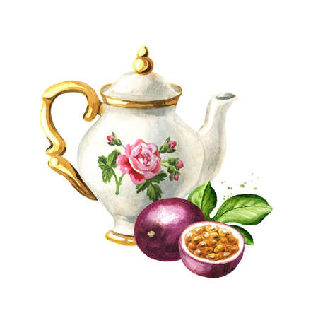 Teapot and passion fruit maracuya. Hand drawn watercolor illustration isolated on white background