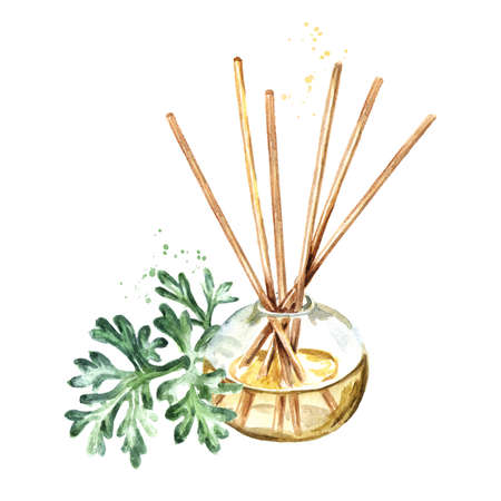 Wormwood liquid in a glass bottle with sticks and a brunch. Freshener. Hand drawn watercolor illustration isolated on white background Stock fotó