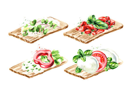 Crispbread with vegan, vegetarian toppings set. Watercolor hand drawn illustration, isolated on white background.tif Zdjęcie Seryjne