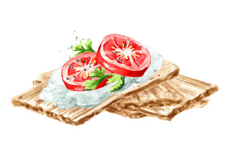 Crispbreads with Cream Cheese and fresh tomato. Watercolor hand drawn illustration, isolated on white background