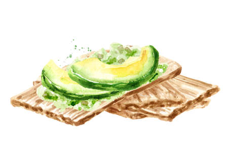 Crispbreads with avocado. Watercolor hand drawn illustration, isolated on white background