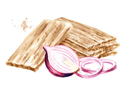 Crispbreads with onion. Watercolor hand drawn illustration, isolated on white background
