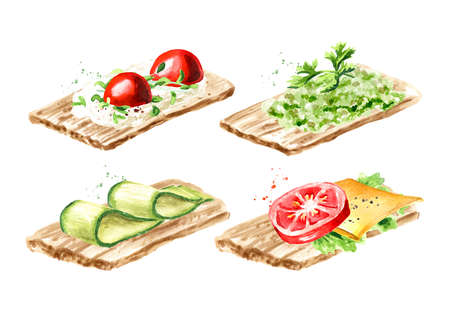 Crispbread vegan, vegetarian with tomato and cheese, cream cheese with cherry tomato, cucumber, vegetable pate set. Watercolor hand drawn illustration, isolated on white background