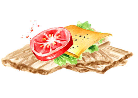 Crispbreads with with tomato and cheese. Watercolor hand drawn illustration, isolated on white background
