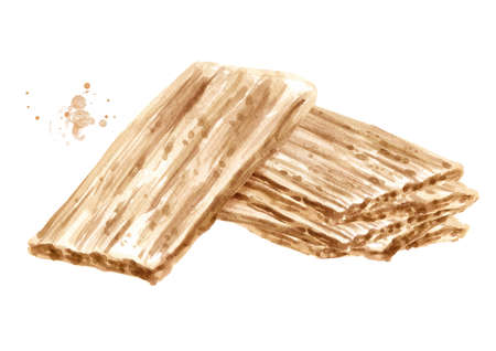 Crispbreads. Watercolor hand drawn illustration, isolated on white background