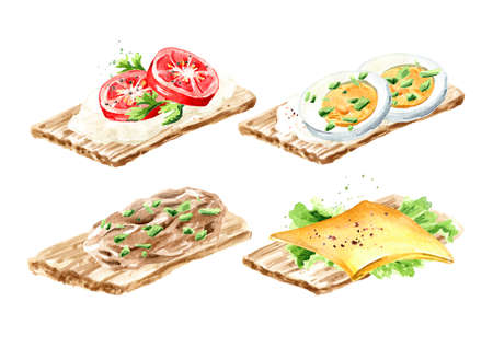 Crispbread with eggs, pate, cream cheese with fresh tomato, lettuce with cheese set. Watercolor hand drawn illustration, isolated on white background