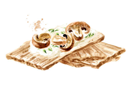 Crispbreads with mushrooms. Watercolor hand drawn illustration, isolated on white background