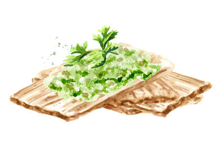 Crispbreads with vegan vegetable pate. Watercolor hand drawn illustration, isolated on white background