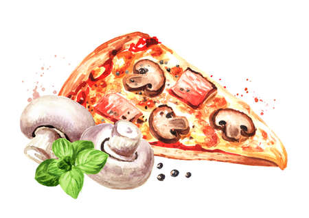 Piece of Rustic pizza with ham, fresh mushrooms and oregano. Hand drawn watercolor illustration, isolated on white background