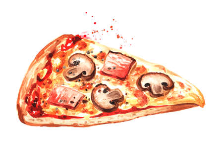 Piece of Rustic pizza with mushrooms and ham. Hand drawn watercolor illustration isolated on white background