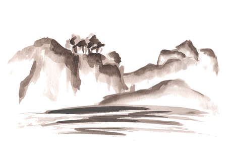 Mountains and river or sea, Asian Chinese and Japanese in Oriental style. Hand drawn watercolor illustration, isolated on white background