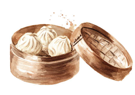 Bamboo steamer and traditional chinese dumplings Dim sum. Hand drawn watercolor illustration, isolated on white background Zdjęcie Seryjne
