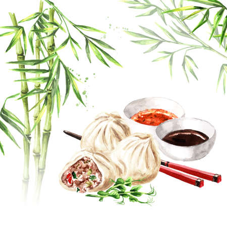 Traditional chinese dumplings Dim sum with sauce and chopsticks and green bamboo stems. Hand drawn watercolor illustration, isolated on white background Zdjęcie Seryjne