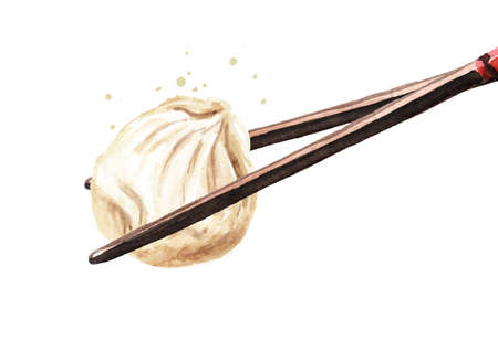 Bamboo chopsticks holding Chinese dumpling. Hand drawn watercolor illustration, isolated on white background