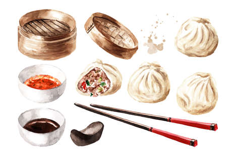 Bamboo steamer and traditional chinese dumplings Dim sum with sauce and bamboo chopsticks set. Hand drawn watercolor illustration, isolated on white background