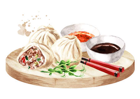 Traditional chinese dumplings Dim sum with sauce and chopsticks on the platter. Hand drawn watercolor illustration, isolated on white background