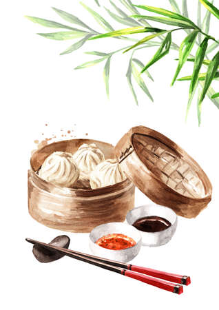 Bamboo steamer, traditional chinese dumplings Dim sum with sauce and green bamboo stems. Hand drawn watercolor illustration, isolated on white background