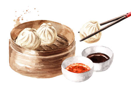 Bamboo steamer and traditional chinese dumplings Dim sum with sauce. Hand drawn watercolor illustration, isolated on white background
