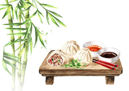 Traditional chinese dumplings Dim sum with sauce and chopsticks on the platter and green bamboo stems. Hand drawn watercolor illustration, isolated on white background